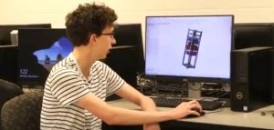 Student with computer animation