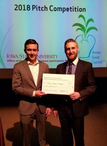 Dillon Hurd and Ethan Marti with Ames Seed Capital award