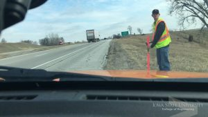 Volk works during his co-op with the Iowa DoT. <i> Photo courtesy Volk. </i>