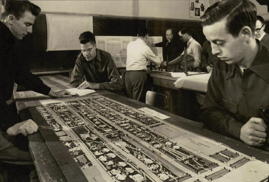 Joseph Walkup teaches a general engineering course in the 1950s