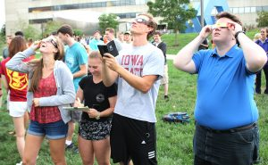 Students observing eclipse