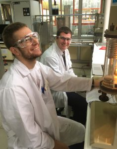 Students Mahoney and Lentner in lab