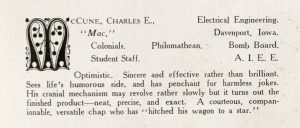 1911 yearbook description of McCune