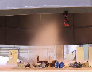 Miniature city with tornado simulation