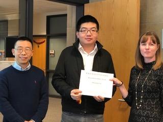 (L-R): MSE Professor Xiaoli Tan, MSE graduate student Zhongming Fan, MSE Professor Katie Bratlie