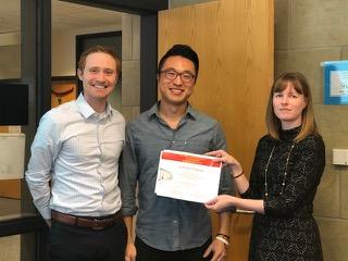 (L-R): MSE Assistant Professor Michael Bartlett, MSE graduate student Dohgyu Hwang, MSE Professor Katie Bratlie
