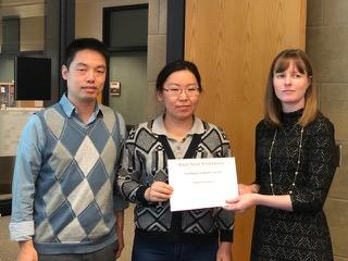 (L-R): MSE Assistant Professor Shan Jiang, MSE graduate student Ayuna Tsyrenova, MSE Professor Katie Bratlie