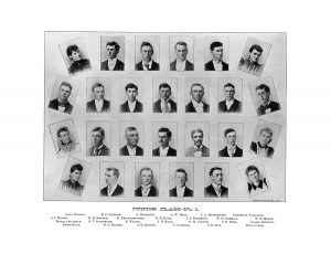 1894 edition of Iowa State's then-student yearbook, The Bomb. Alda Wilson is pictured in the top left corner. <i>Special Collections, Iowa State University.</i>