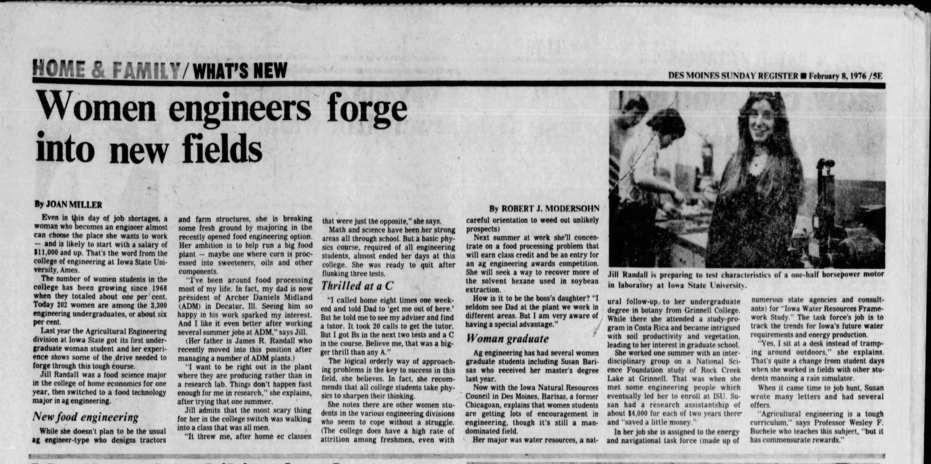 The Des Moines Register interviewed Jill Fratini for its Sunday edition on Feb. 8, 1976. <i>(Des Moines Register Archives)</i>