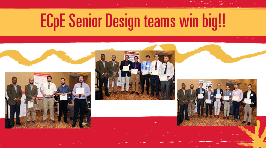 ECpE Senior Design teams win big: Image shows three teams of students who won first, second, and third place for the ECpE senior design project.