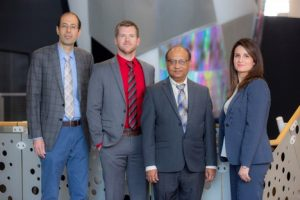 From left: Behrouz Shafei, assistant professor of civil, construction and environmental engineering, Jared Hobeck, assistant professor of mechanical engineering at Kansas State University, Partha Sarkar, professor of aerospace engineering, and Alice Alipour, assistant professor of civil, construction and environmental engineering and PI of the project