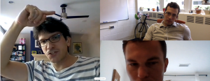 A screenshot of a Skype call between Subramaniam and collaborators Filippo Coletti, who is gesturing with his hands, Jesse Capecelatro and Dr. Aaron Lattanzi.