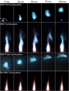 Four rows of images show a time lapse of flares igniting and burning out, both with and without microwave energy.