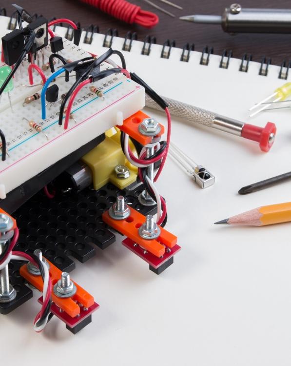 robot on a notebook