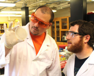 Student and faculty mentor in research lab
