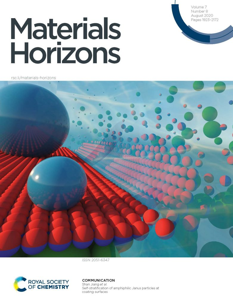 The cover of Materials Horizon journal, showing an an atomic illustration