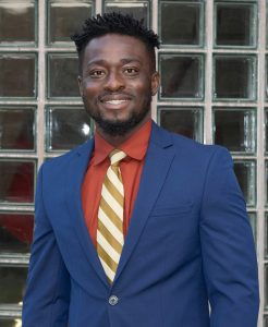 ME graduate student Emmanuel Tetteh poses outside of Black Engineering Building