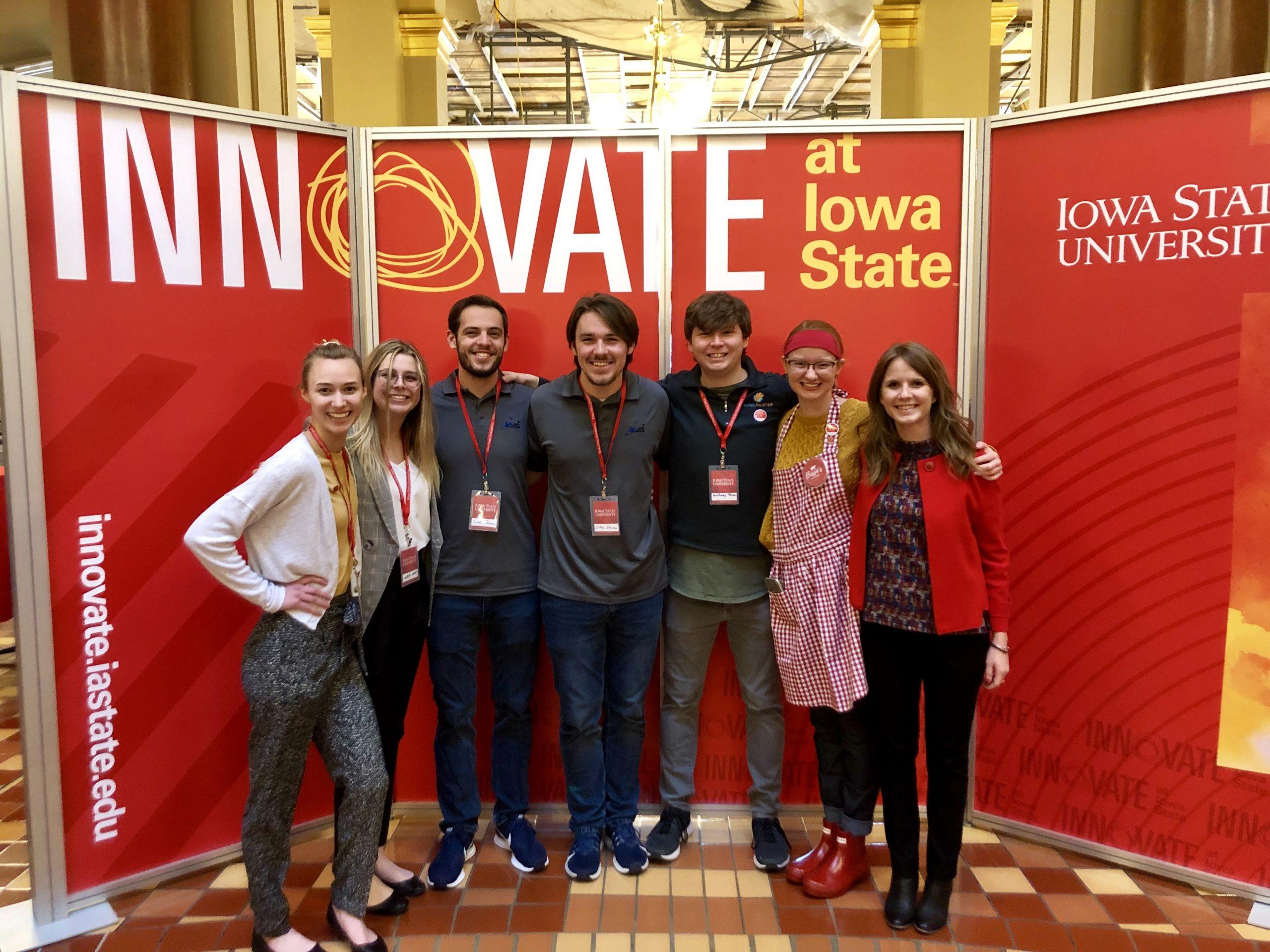 Iowa State University students pose at the Iowa state capitol