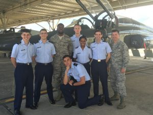 A group of ROTC cadets pose together