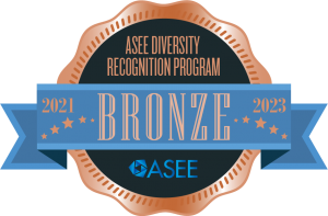 Bronze medal graphic that reads ASEE Diversity Recognition Program Bronze 2021-2023