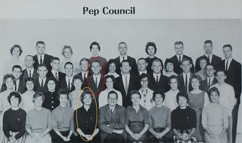 A black and white group photo of the 1961-62 Pep Council