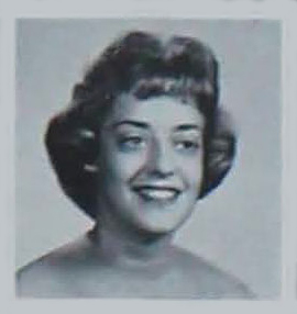 A black and white photo yearbook photo of Sue Nelson