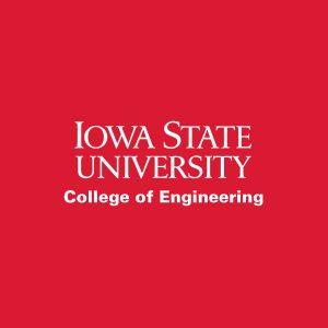 Iowa State University College of Engineering, white wordmark on red background
