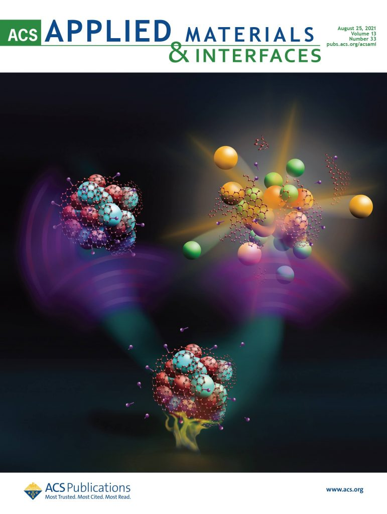 Journal cover with illustration showing three composite molecules, one of which is exploding