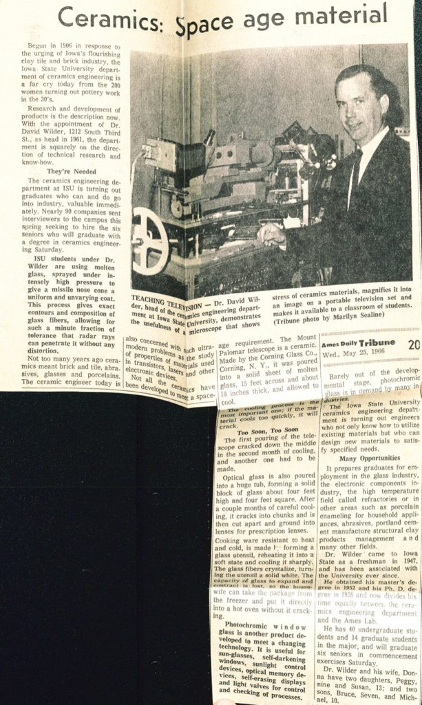 Article from the Ames Daily Tribune newspaper in 1966 about David Wilder and what students in ceramic engineering were working on