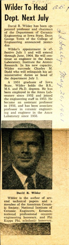 Iowa State Daily article about David Wilder becoming chair of the ceramic engineering department. featuring a headshot photo.