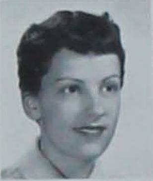 A black and white senior photo of Iowa State University alum Joyce Arlene McEwen Therkildsen from the 1959 Iowa State University yearbook.