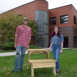 ME student designs, fabricates outdoor desks to reduce spread of COVID-19