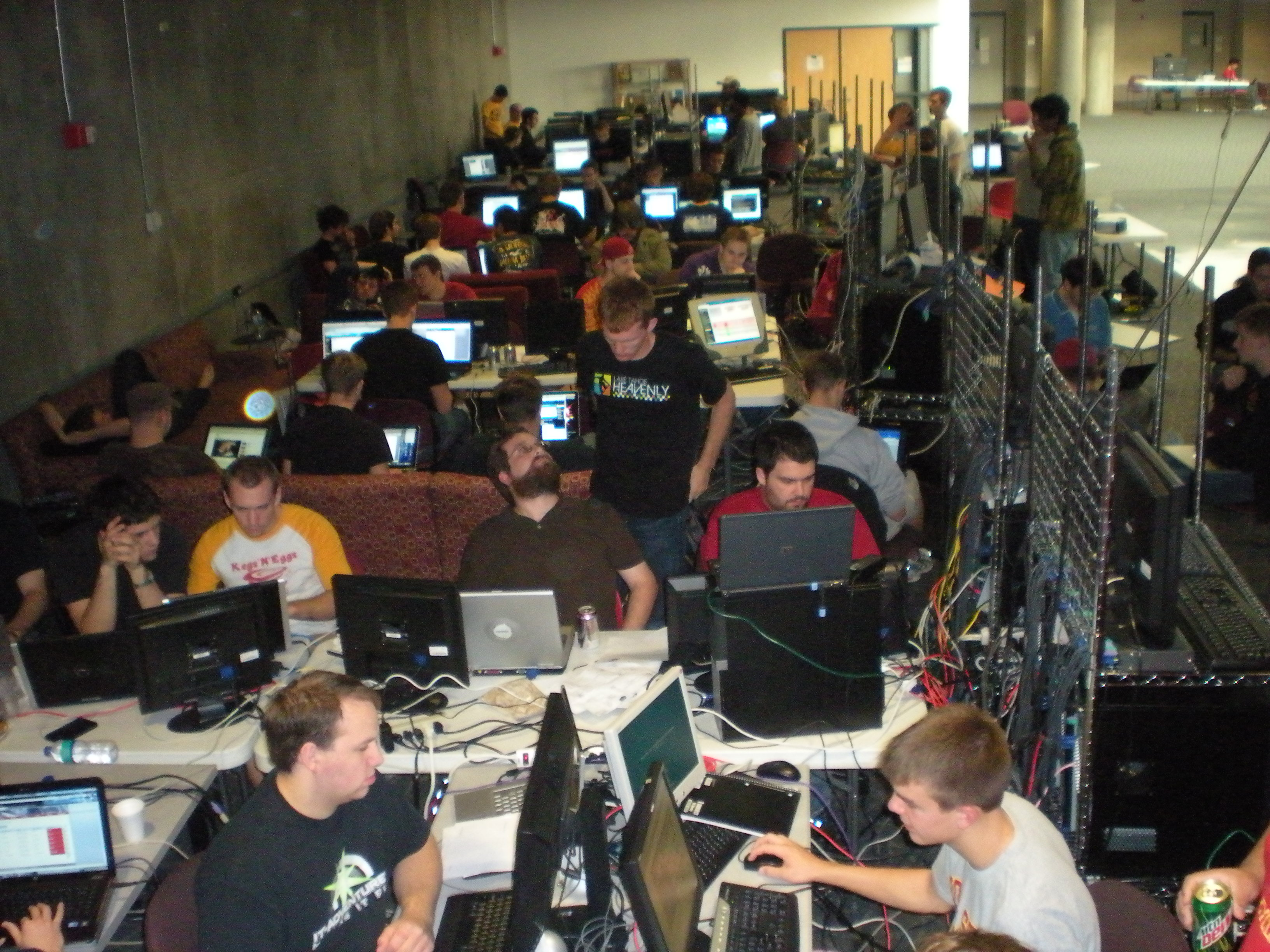 Students participating in the commity college cyber defense competition