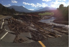 Fish Creek Road devastated by flooding.