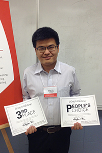 """Shifan Wu, 3rd Place and People's Choice, """"Mitigation of Liquefaction Hazards Using Microbial Geotechnologies"""""""